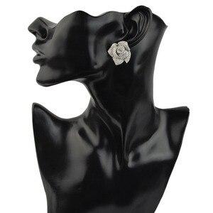 Image 4 - Женские серьги гвоздики с фианитом, циркониевые серьги высокого качества с микрозакрепкой