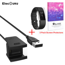 For Fitbit Charge 2 Bracelet Screen Protector + Charger 3 Pack Screen Protective Film + USB Fast Charger Charging Cable Cord