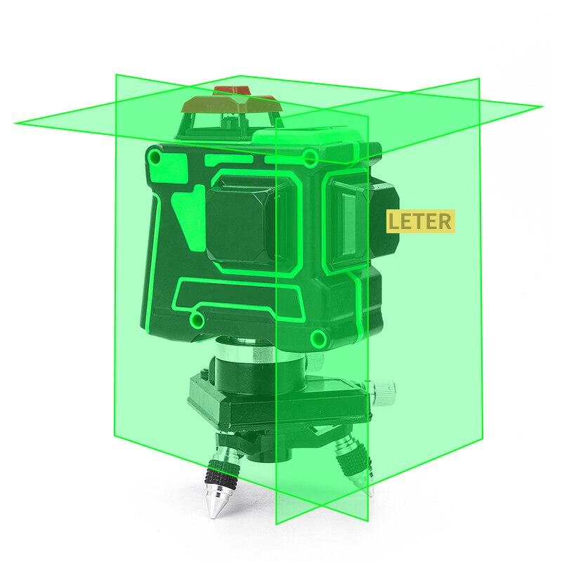 LETER 3d наливный зеленый лазерный уровень 12 линий горизонтальный и вертикальный крест