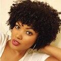 Corto Rizado Rizado Indio Llena Del Cordón Peluca de Cabello Humano Para la Mujer Negro Afro Rizado Peluca Rizada Del Frente Del Cordón Del Pelo Humano Corto Bob Peluca Rizada
