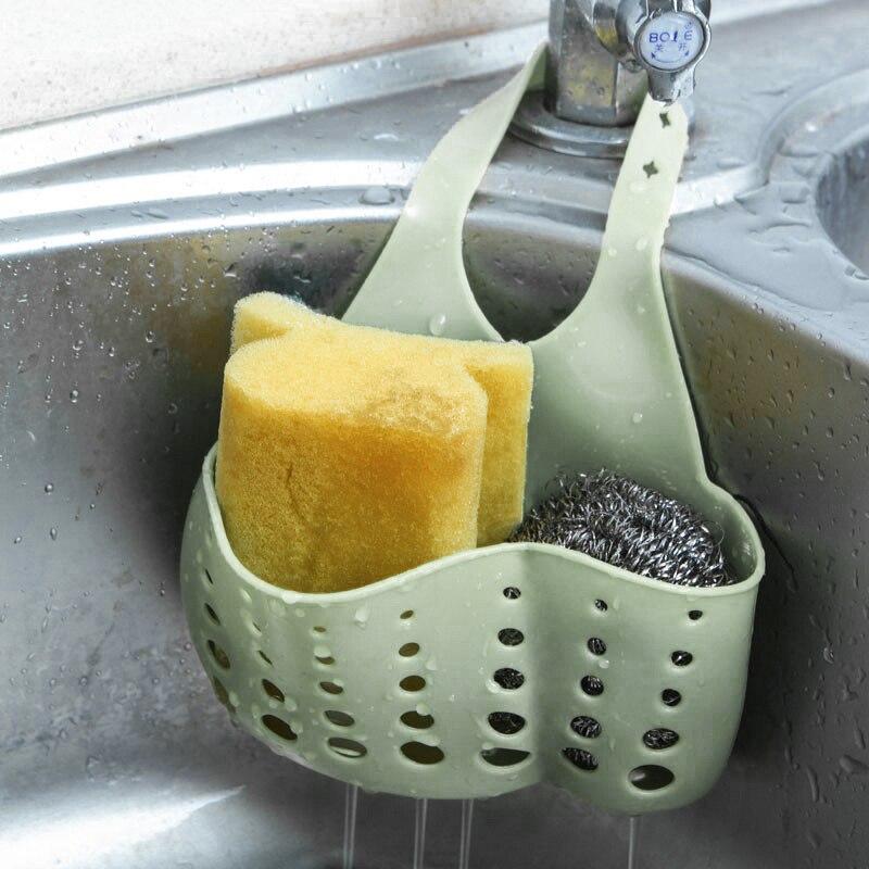 US $0.67 21% OFF|Adjustable Kitchen Sink Sponge Holder Wash Cloth Drain  Storage Rack Shelf Organizer Hanging Basket Kitchen Accessories Stand-in ...