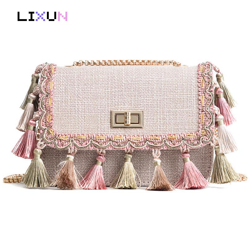 Boho Fringe Crossbody Bag High Quality Women Fashion 2018 Mini Chain Shoulder Bags Canvas Bohemian National Fashion Handbags