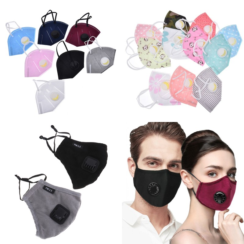 Unisex Cotton Dustproof PM2.5 Pollution Half Face Mouth Mask With Breath Valve Wide Straps Washable Reusable Muffle Respirator