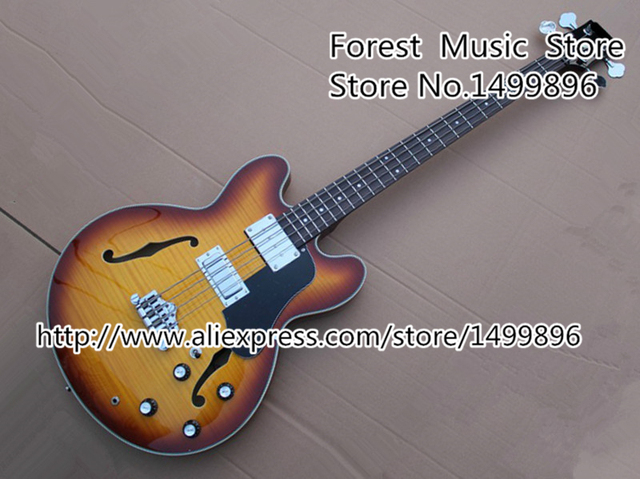 Cheap Chinese Music Instrument Vintage Sunburst Flame ES Custom Hollow Body Electric Bass Guitar 4 String Free Shipping