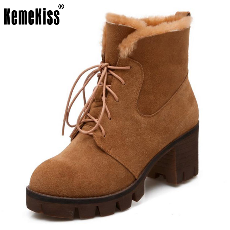 KemeKiss Ladies Real Leather High Heels Mid Calf Boots Women Platform Lace Up Shoes Woemn Winter Warm Plush Botas Size 34-39 double buckle cross straps mid calf boots