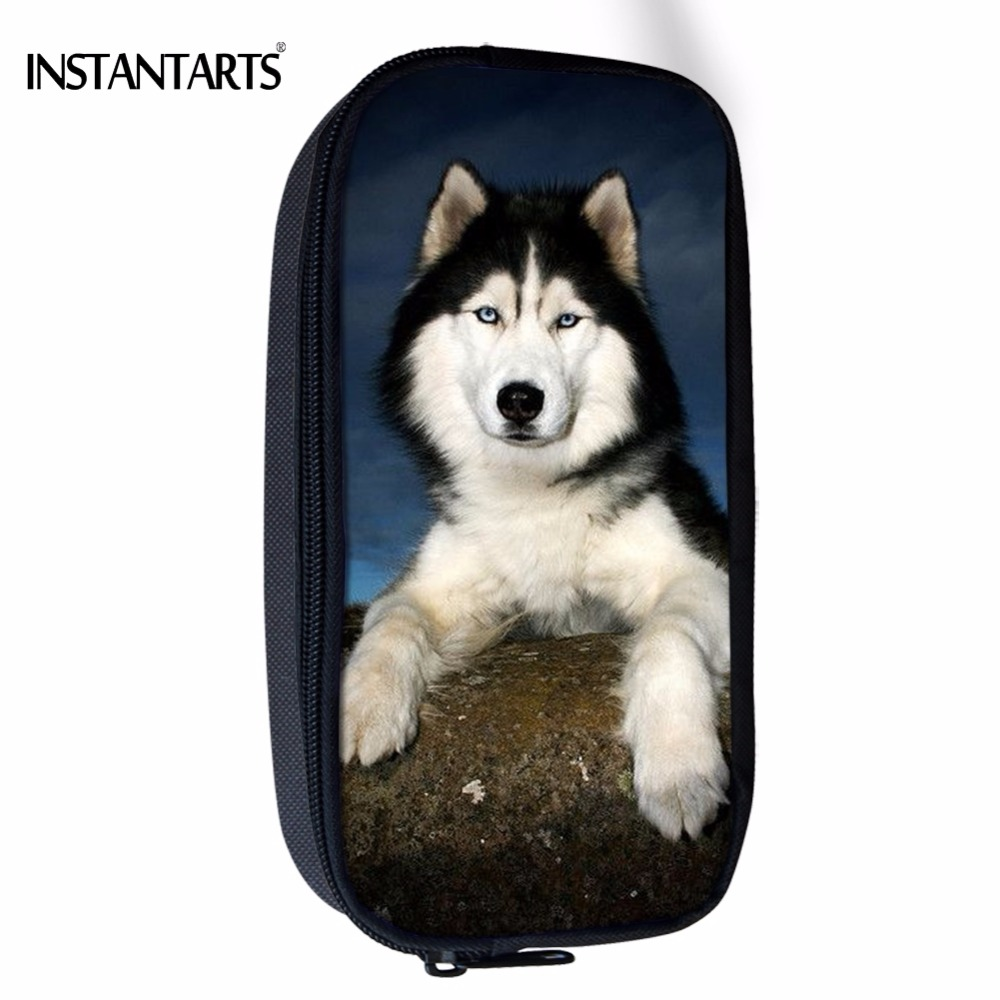 INSTANTARTS Cute 3D Animal Husky Dog Printing Women Cosmetic Cases School Students Pencil Case Children Pencil Pouch Storage Pen