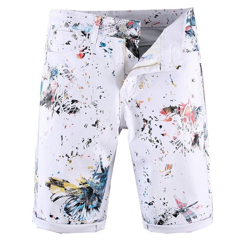 Sokotoo Men's White Dragonfly Flower Printed Shorts Slim Skinny Annimal Painted Knee Length Stretch Jeans