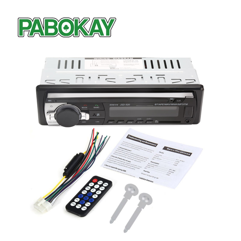 Autoradio Car Radio 12V Bluetooth V2.0 JSD520 Car Stereo In-dash 1 Din FM Aux Input Receiver SD USB MP3 MMC WMA ISO Connector image