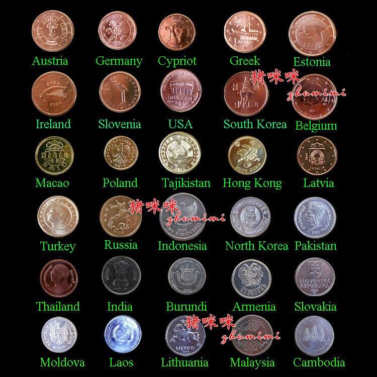 Conjunto de 30 monedas de 30 países monedas finas y 100% Original envío gratuito