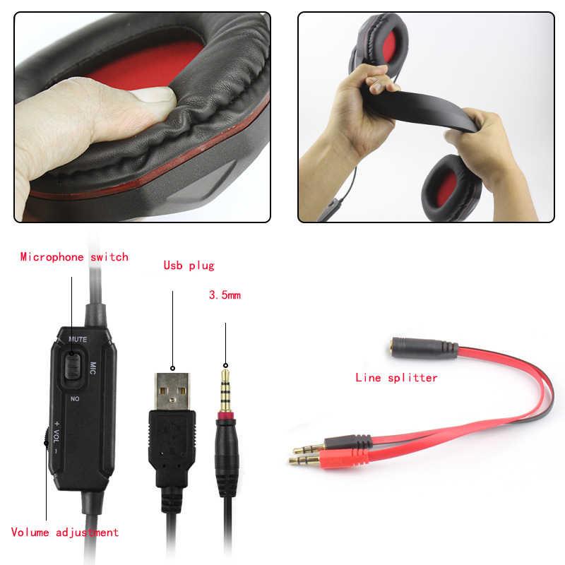 3.5 Mm Headset Gaming dengan Lampu LED Mikrofon Stereo Earphone Deep Bass untuk Ps4 Xbox One PC Komputer Laptop