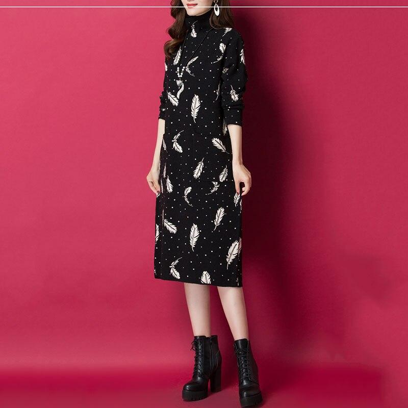 Femmes pull à col roulé tricot robe en cachemire 2019 printemps automne nouvelle robe de mode imprimer pull en vrac robe femme hiver NO653