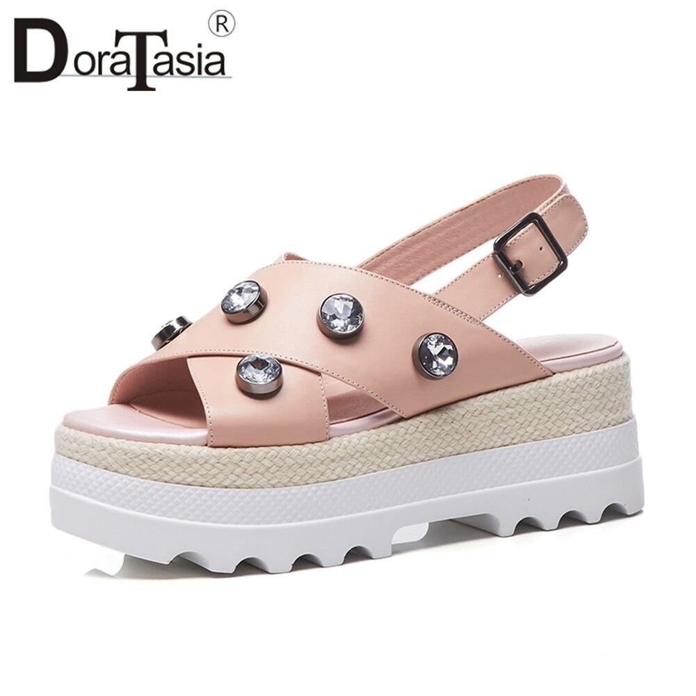 DORATASIA 2019 été marque en cuir véritable paille plate-forme sandales femmes compensées chaussures en cristal femme doux Date décontracté chaussures