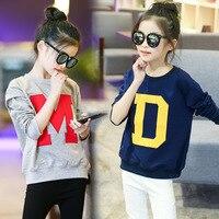 2017 Kids Models Fall Korean Cotton Long-Sleeved Round Neck Letter Cartoon T-Shirt Children Sweater