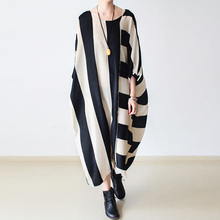 ФОТО 2017 spring new women striped dress female loose plus size batwing long dress long sleeve round neck asymmetrical maxi robe
