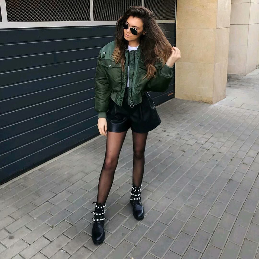 Fashion Za Vintage Women Chic Green Oversize Bomber Jacket Stylish Female Pockets Zippers Coat Casual Ladies Outerwear