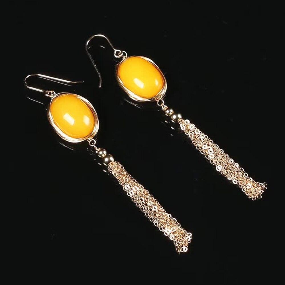 Fine bijoux usine en gros marque SGARIT mode 14 k or wrap naturel jaune ambre pierre gemme gland boucle d'oreille fait à la main bijoux