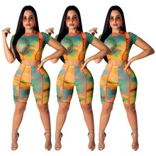 Summer Sexy Tie Dye Print Pants 2 Piece Matching Sets Slim Short Sleeve Crop Top And Biker Shorts Club Outfits Casual Tracksuit цена