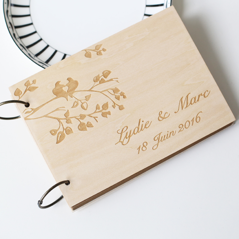 Custom Unique Wedding Anniversary Bridal shower guest book, Personalized gift for couple, Laser engraved, Rustic wedding decor
