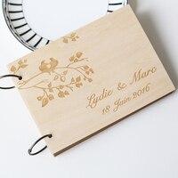 Personalizado Único libro de visitas Del Aniversario de Boda Nupcial de la ducha, regalo personalizado para pareja, grabados con láser, rústica decoración de la boda