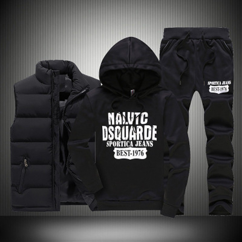 Autumn Winter 3 Pics Sports Set Men Hooded Thicken Down Coat Vest Sportwear Suits Fitness Clothing Sweatshirt Pants Male M 5XL