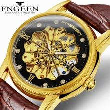 цена на FNGEEN Watch Men Luxury Waterproof Men's  Mechanical Self Wind Watches Hollow Mechanical Movement Waterproof and Wear Resistant
