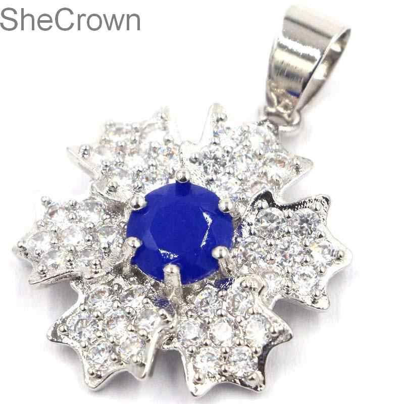 ร้อนขายจริงสีฟ้า Sapphire CZ สีขาว SheCrown ปัจจุบันเงินจี้ 32x21 มม