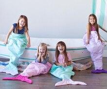 140cm Kids shark mermaid tail blanket children bedding swaddle kids baby soft cotton sleepbag mermaid tail blanket Bed Wrap