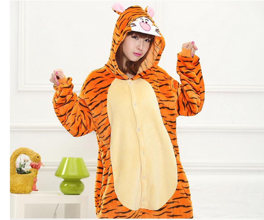 Halloween Party Costume Lovely Tigger Tiger Onesie Pajamas Costume Unisex  Adult One-piece Sleepwear Onesie Tops Party ee1a1591a