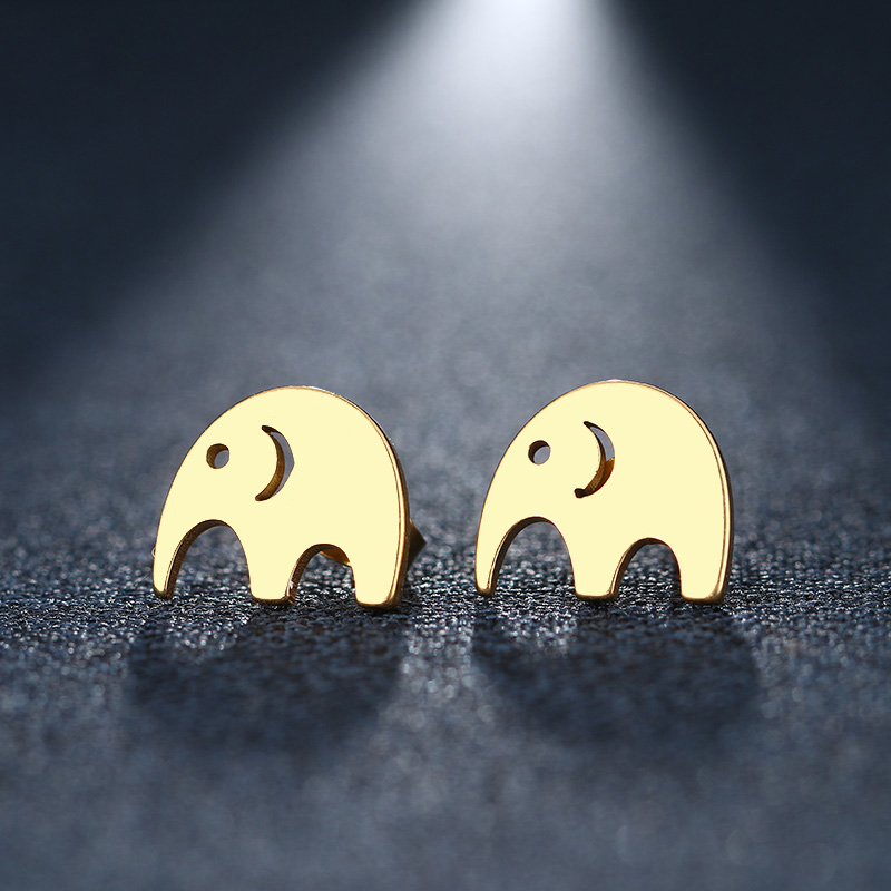 CACANA Stainless Steel Stud Earring For Women Man Elephant Gold And Silver Color Lovers Engagement Jewelry Drop Shipping