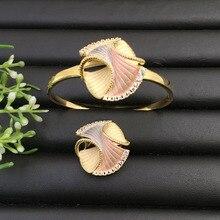 Lanyika Sieraden Graceful Artistical Set Abstract Geometrische Zandstralen Bangle met Ring voor Banket Populaire Luxe Beste Geschenken