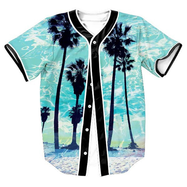 58541151f 3D Baseball T Shirt Men 2017 Coconut Trees Print Baseball Jersey Short  Sleeve Slim Fit Men T Shirts Hip Hop Hispter Tee Shirt
