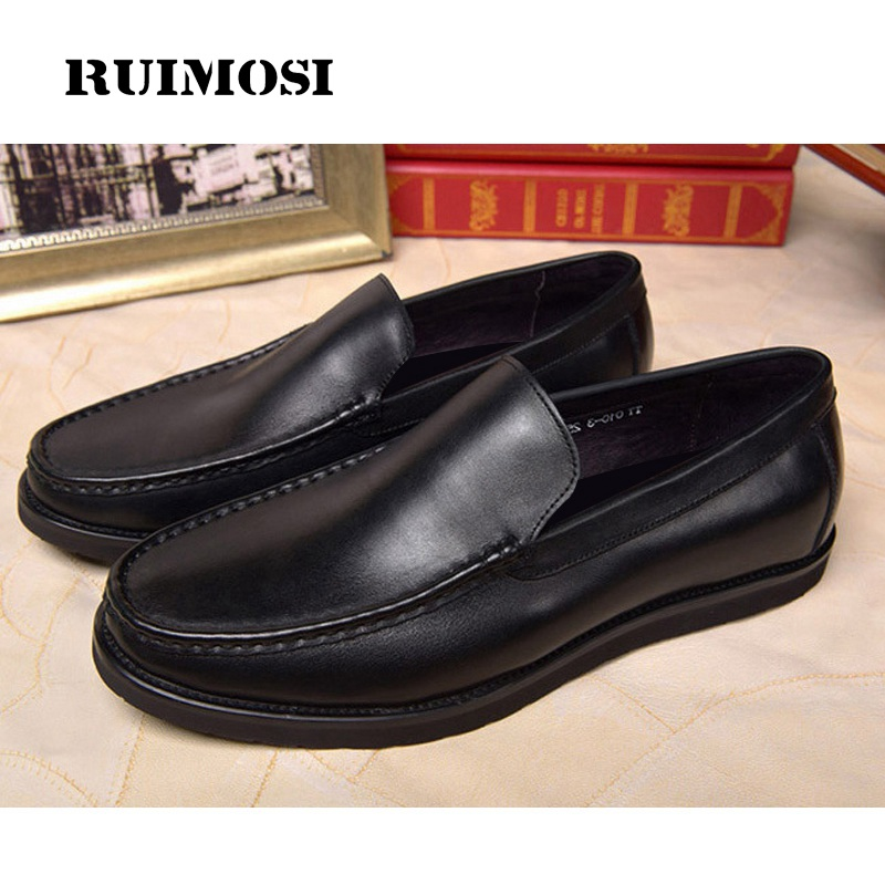 RUIMOSI Hot Sales Round Toe Flat Platform Man Casual Shoes Genuine Leather Loafers Comfortable Men's Driving Boat Footwear MG71