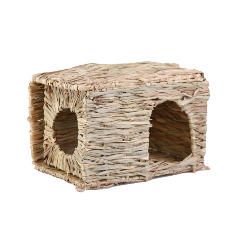 Folding Straw House DIY Rabbit Hamster Hedgehog Guinea Pig Handmade Grass Nest Supplies