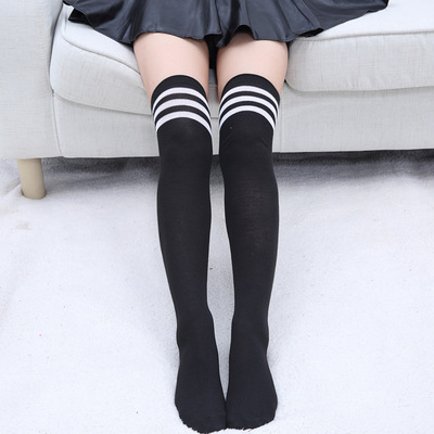 New 1Pair Women/Girls Stockings Black/White Knee Socks School Student Stockings