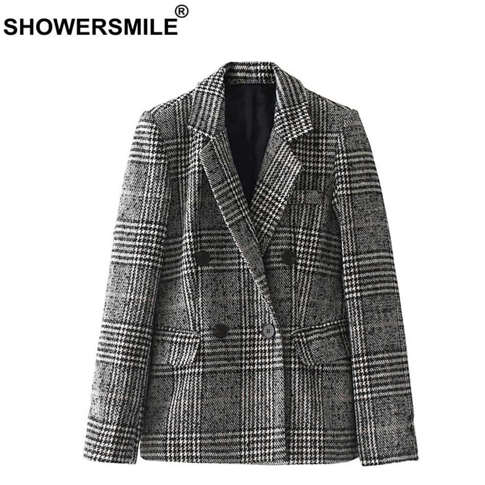 SHOWERSMILE Houndstooth Women Blazer Jacket Double Breasted Blazer Coat Female Autumn Wi ...