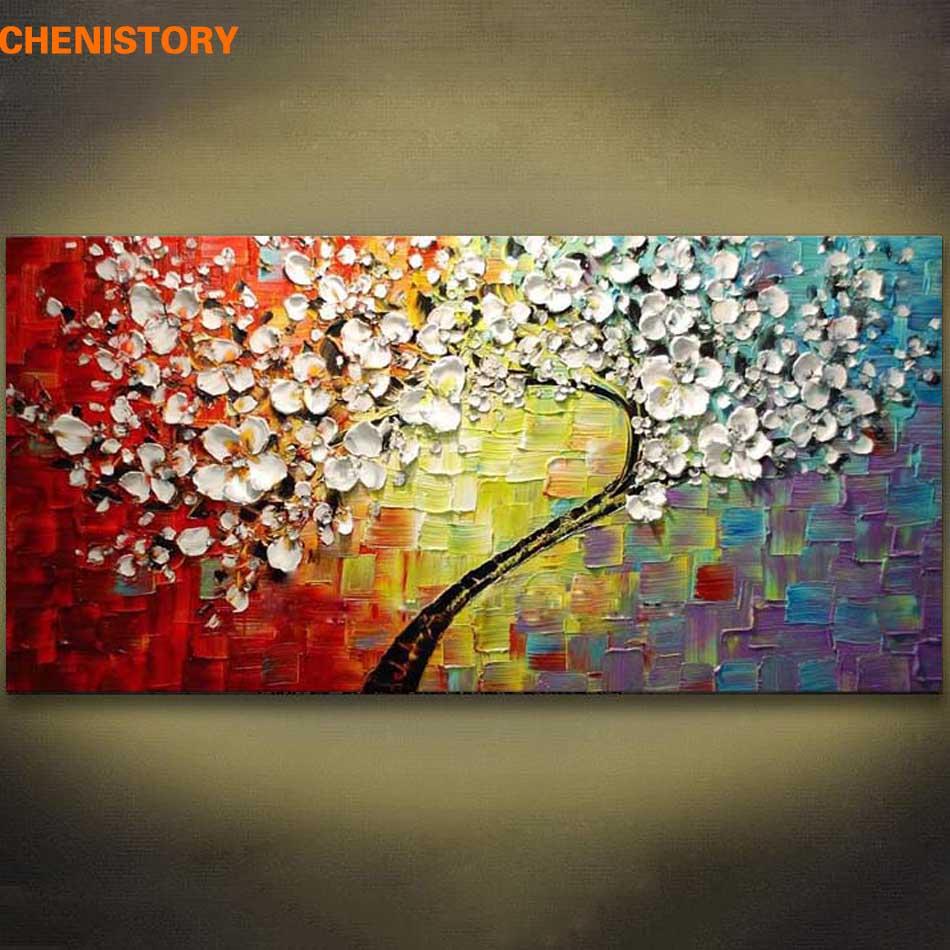 Pannelli senza cornice Fiore Colorato Albero Dipinto Ad Olio Su Tela Immagine Moderna Spatola Pittura Per Soggiorno