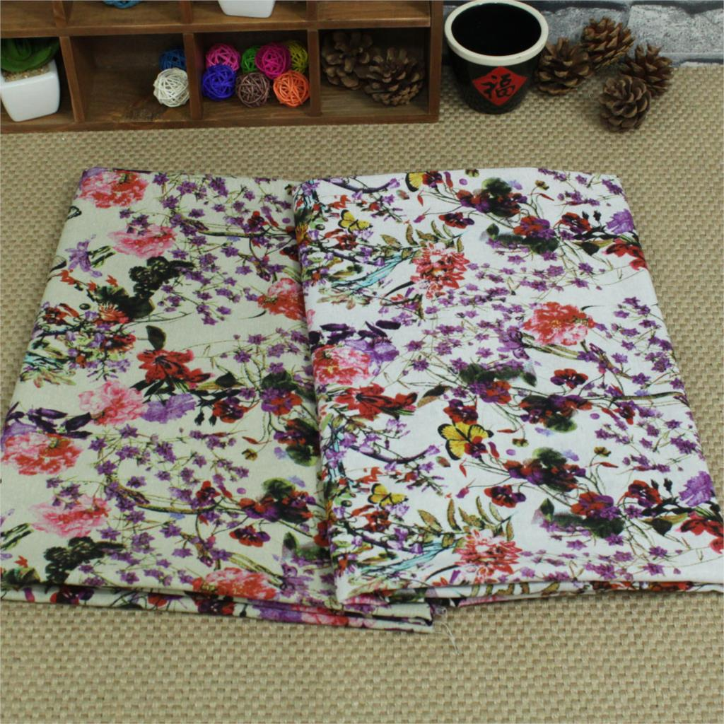 50x140cm Soft Linen Cotton Fabric White Natural Flowers Print Fabrics for Sewing Cloth Dress Curtain Tissu