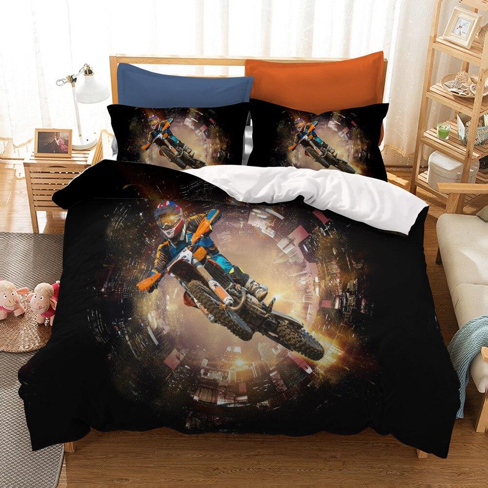 3D Mountain Motocross Bedding Set Duvet Covers Car Cross Country Comforter Bedding Sets Bedclothes Children Room Pillowcases
