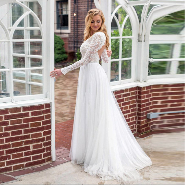 LORIE Long Sleeve Wedding Dress Lace Top V Neck Tulle Skirt Backless  Princess Beach Wedding Gown 947207bffce3