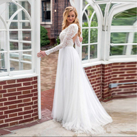 LORIE Long Sleeve Wedding Dress Lace Top V Neck Tulle Skirt Backless Princess Beach Wedding Gown Boho Bride Dress Free Shipping