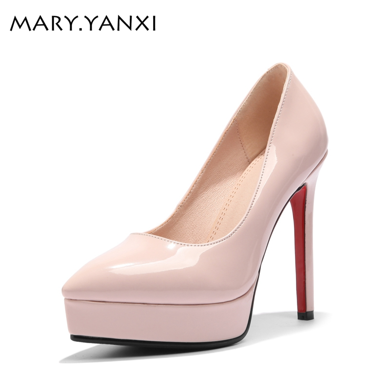 Big size women shoes concise shallow mouth platform shoes women pumps pointed toe high heels slip-on elegant party wedding pumps newest flock blade heels shoes 2018 pointed toe slip on women platform pumps sexy metal heels wedding party dress shoes