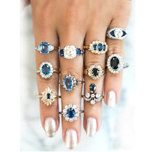 11 Pcs/set Delicate Luxury Women Blue Crystal Geometry Round Water Drops Irregular Flower Ring Set Charm Party Wedding Jewelry(China)