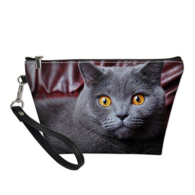 bb408bec32d7 US $7.2 40% OFF NOISYDESIGNS designer cosmetic bag Cases Makeup Functional  Bag for Teenage Girls Travel Makeup Pouch 3D Cat Print Necessaire-in ...