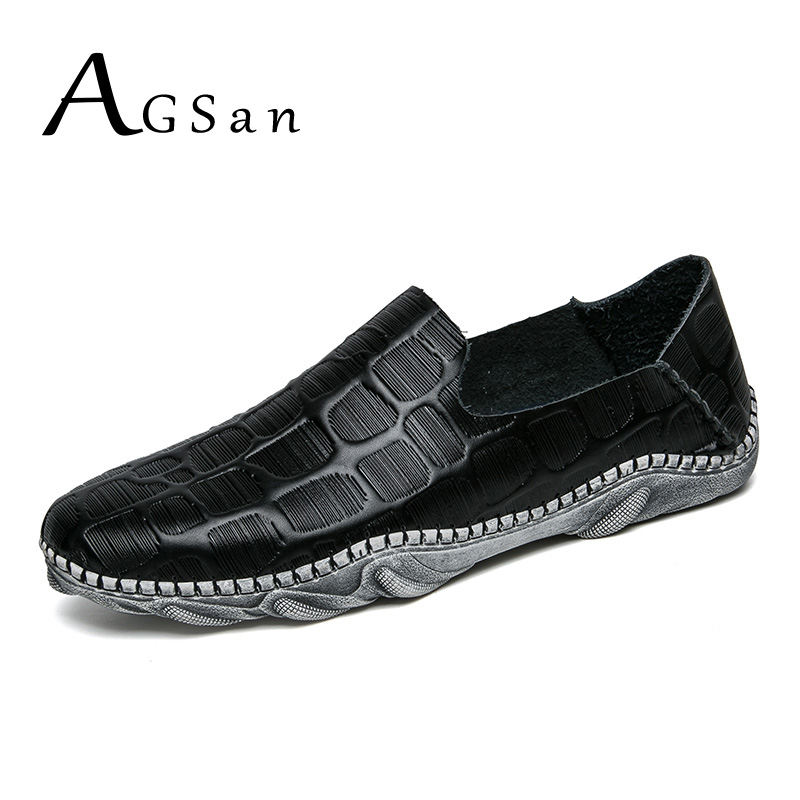 где купить AGSan Men Split Leather Loafers Shoes Slip On Mens Casual Shoes Black White Driving Shoes Leisure Footwear Comfortable Loafer по лучшей цене