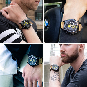 Image 5 - Megir 블루 쿼츠 남자 시계 톱 브랜드 가죽 스트랩 크로노 그래프 스포츠 손목 시계 남자 시계 relogio masculino reloj hombre