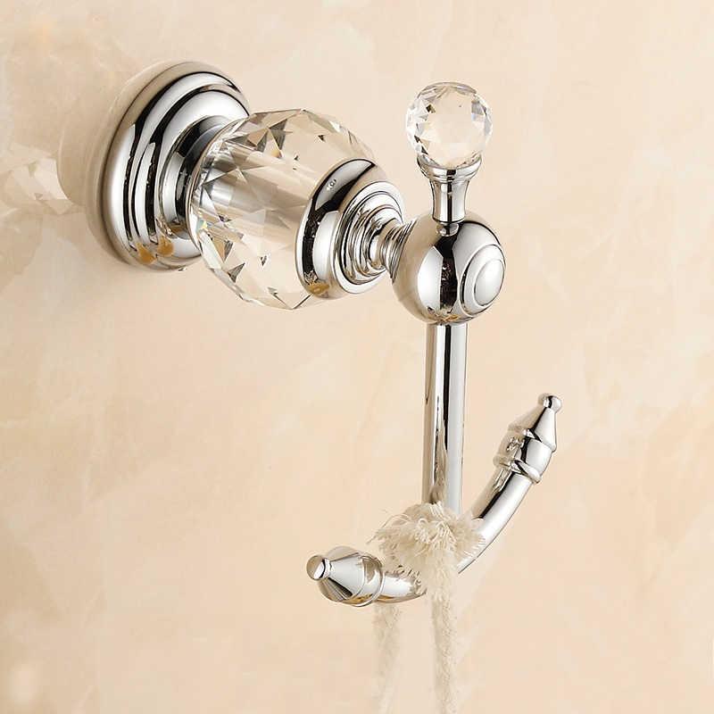 Novo moderno acabamento cromado robe gancho toalha do banheiro gancho de luxo cristal decorativo cabide ganchos parede dupla chave titular 4560