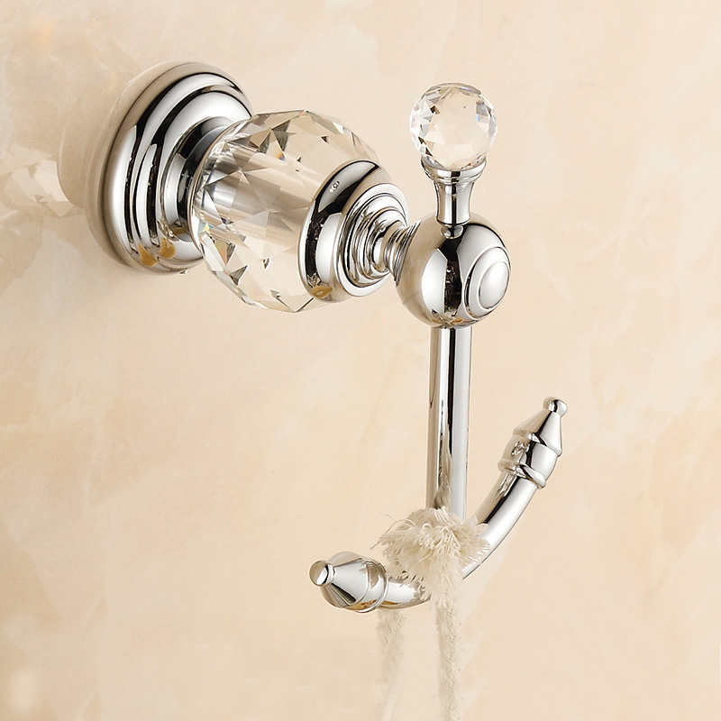 Bathroom Wall Hooks Towels: Robe Hooks Wall Mount Luxury Crystal & Brass Hook Bathroom