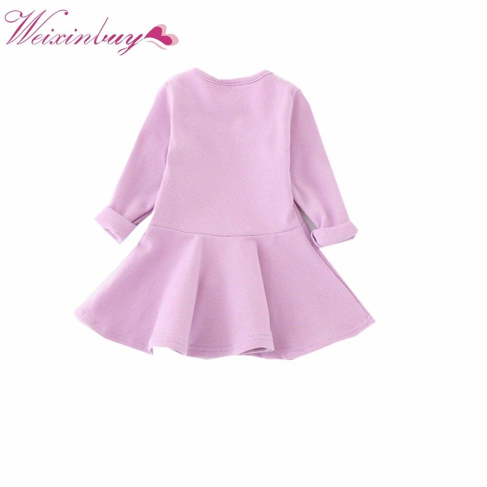 Spring Autumn Girl Dress Candy Color Long Sleeve Girls Dresses Children Clothing