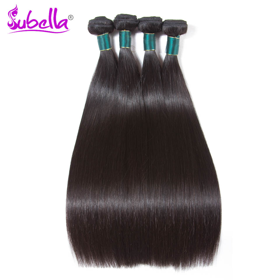 Subella Hair Straight Hair 4 Bundle Peruvian Hair Weave Bundles 100G/Pc Thick End Natural Color Human Hair Extensions
