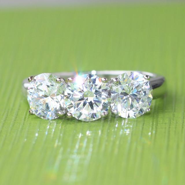 14K 585 White Gold 3CT Simulated Diamond Engagement Wedding Ring